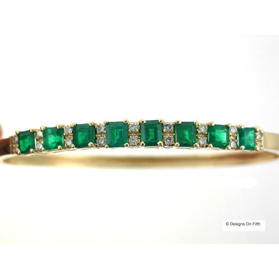View 14K Yellow  Gold<BR> Emerald and Diamond Bangle