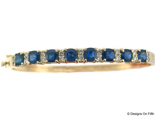 View 14K Yellow  Gold<BR> Tanzanite and Diamond Bangle