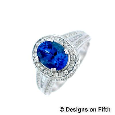 View 18K White  Gold<BR> Tanzanite Ring